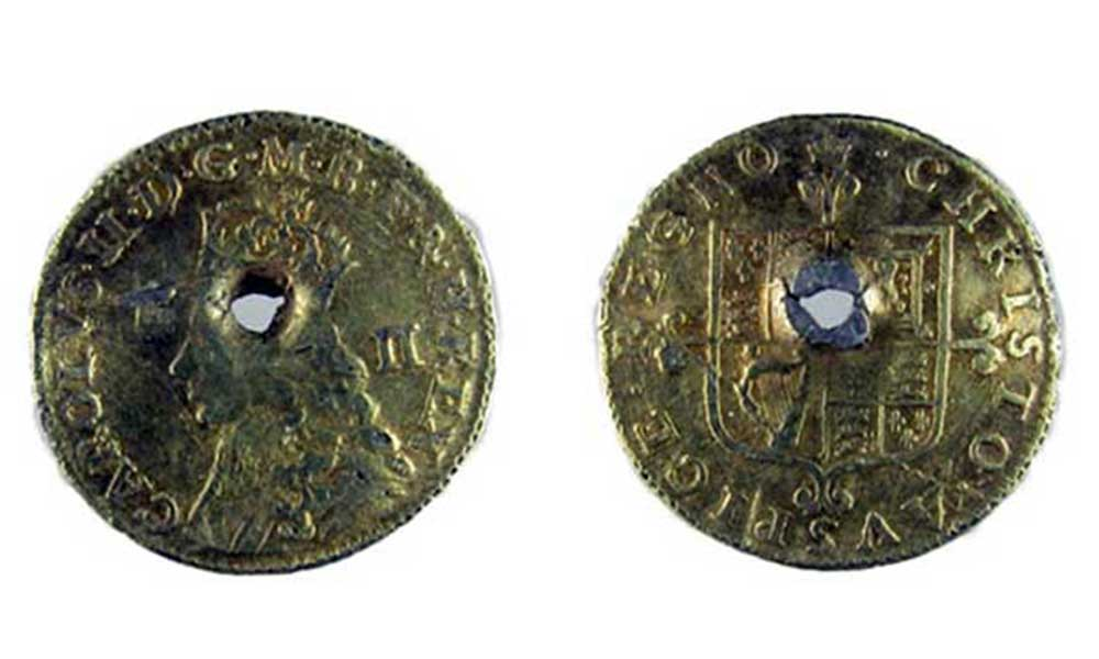 gilded and pierced Twopenny of Charles II