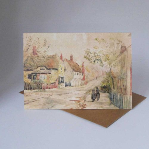 Card-1890 Watercolour of Much Hadham by unknown artist
