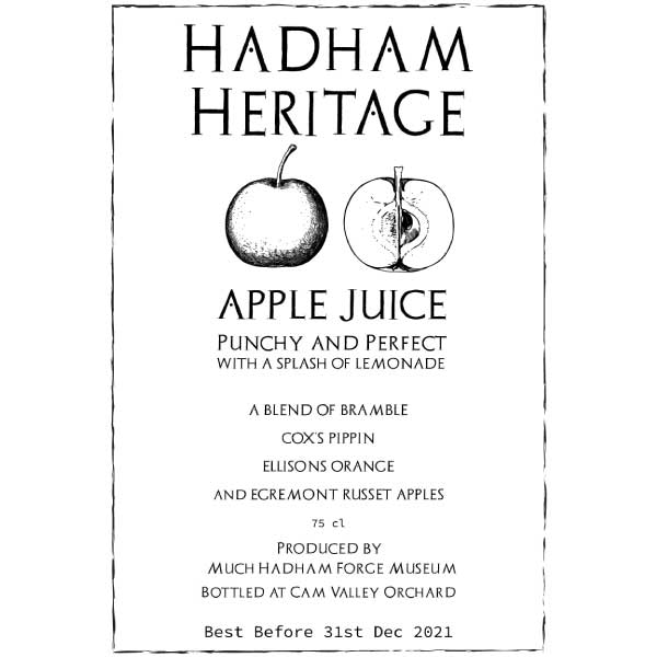 Hadham heritage Apple Juice Label